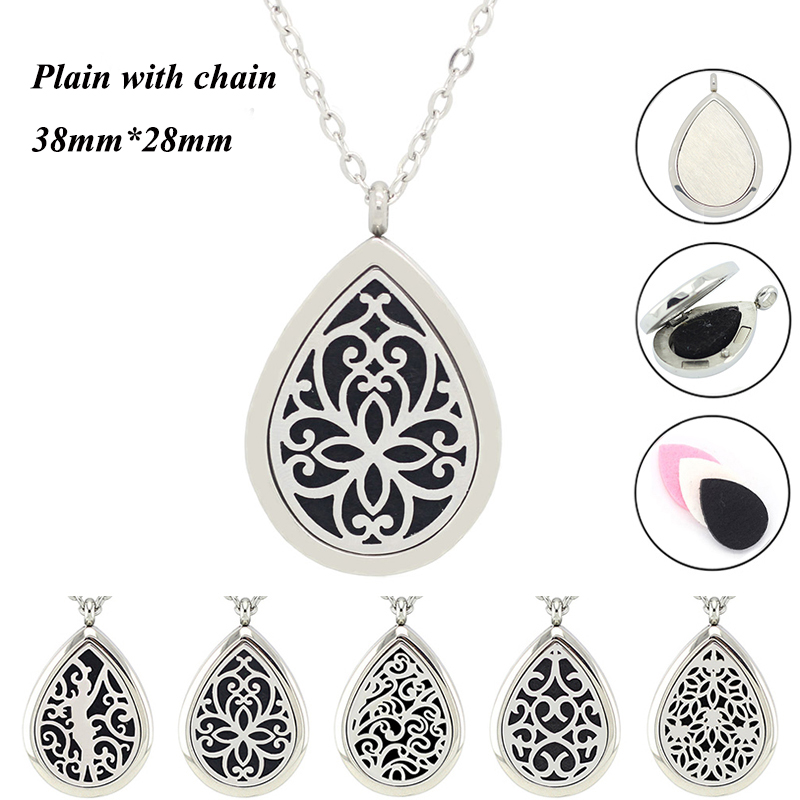 316L stainless steel oil diffuser necklace teardrop 28mm*38mm aromatherapy diffuser pendant necklace for women