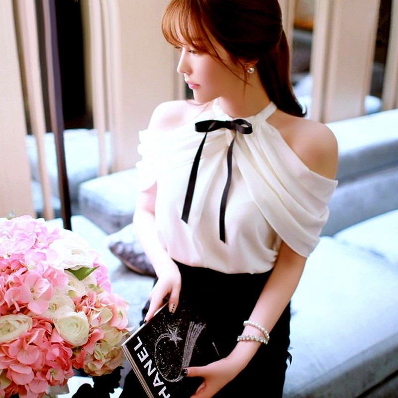 Ladies Summer Cold Shoulder Tops Korean Fashion Clothing Cute BOW-TIE Decorated Halter Off Shoulder Chiffon Blouse Women