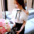Ladies off shoulder blouses tops 2016 summer style Korean fashion princess cute BOW-TIE decorated halter chiffon blouse