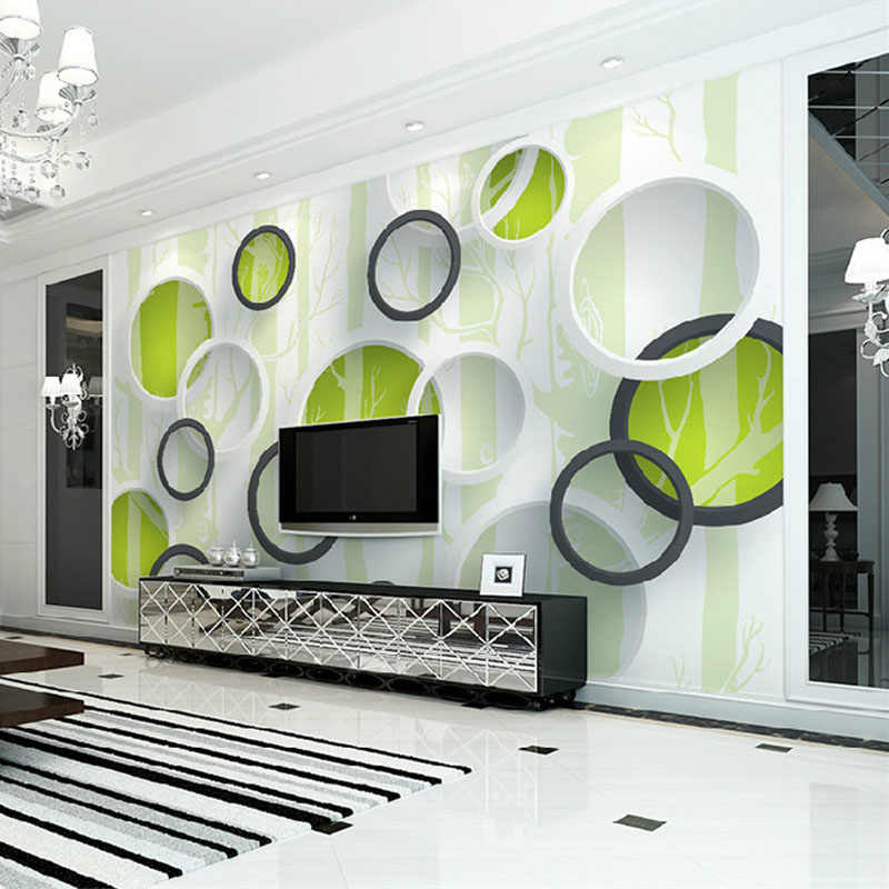 مخصص صور خلفيات الحديثة 3D الأخضر شجرة دائرة طلاء جدران مجردة الفن جدارية غرفة المعيشة التلفزيون أريكة حائط الخلفية ورقة 3D