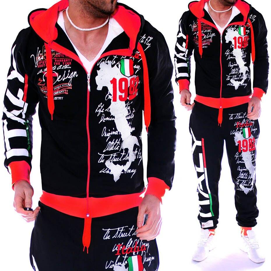 Survêtement Hommes Sport Veste de Costume Pantalon À Capuche Marque-Vêtements décontracté survêtement Hommes Veste + Pantalon Hommes Ensembles Sweat survêtement Ensemble