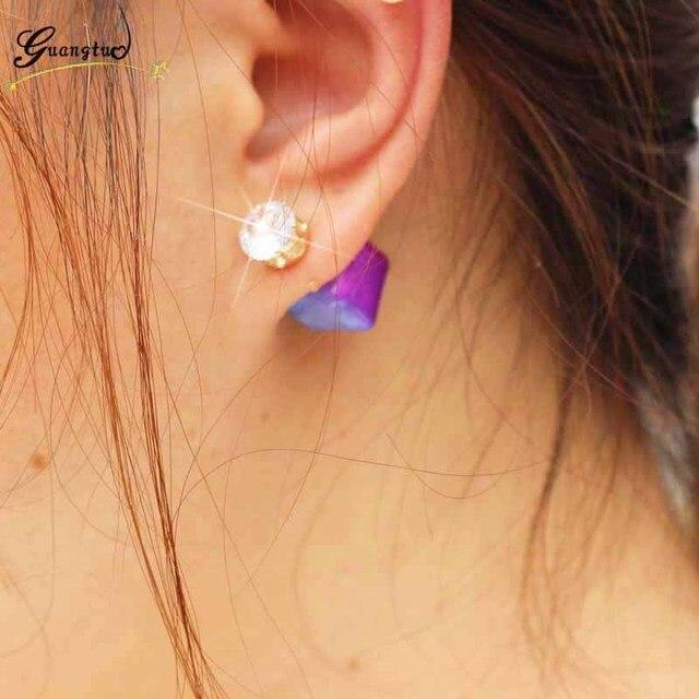 Clic Double Sided Stud Earrings For Women Oorbellen Brincos Geometric Cube Crystal Earring Piercing Jewelry Bijoux