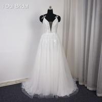 Spaghetti Strap Deep Neckline Beach Wedding Dresses With Bow Tie Handmade Flower Real Photo A Line
