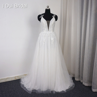 Spaghetti Strap Deep Neckline Beach Wedding Dresses With Bow Tie Handmade Flower Real Photo A Line