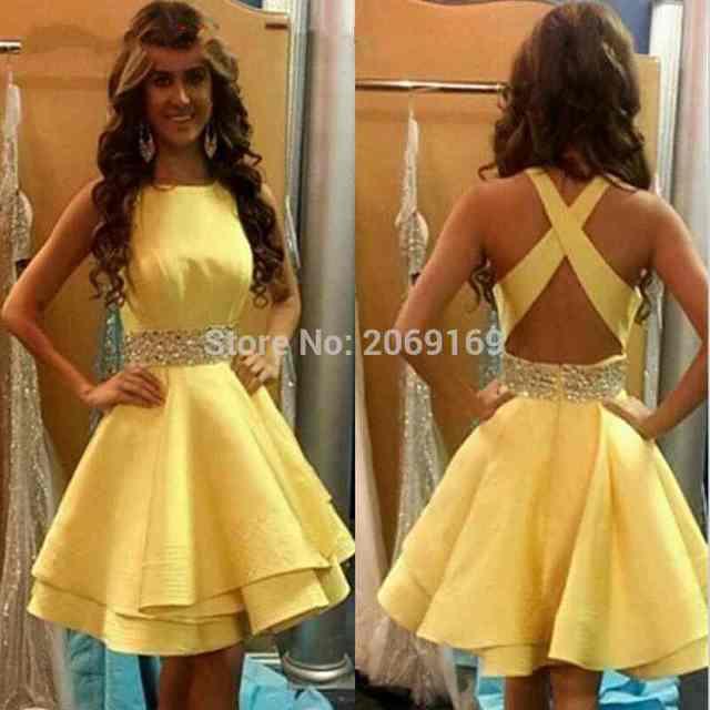 a4eaeee2b Nuevo 2019 amarillo corto cóctel vestidos De graduación cinturón vestido De  baile vestido De espalda abierta