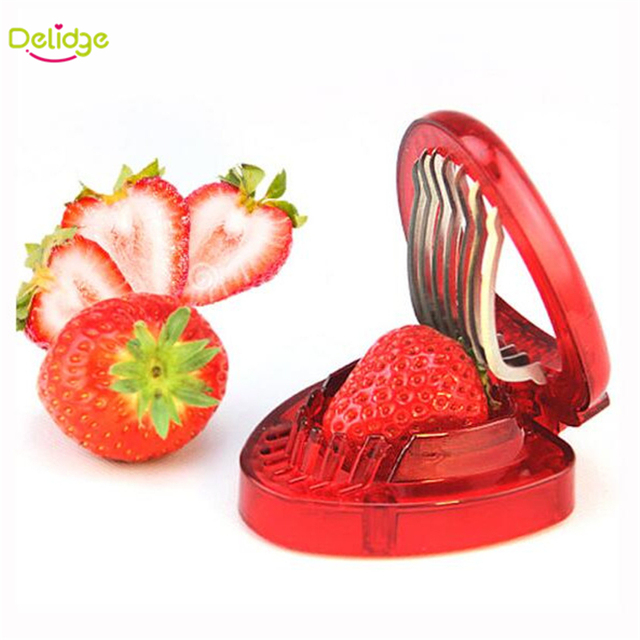 Delidge 1 pc Red Strawberry Slicer Plastic Fruit Carving Tools Salad Cutter Berry Strawberry Cake Decoration Cutter