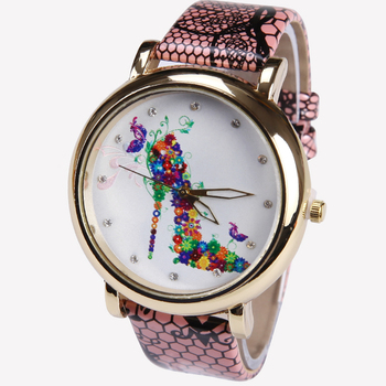 New Geneva PU Leather High Heels Flowers Watch Woman Vintage Retro women wristwatch Golden rim girl dama image