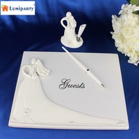 LumiParty Bride and Groom White Wedding Guest Book Engagement Anniversary Guestbook Album Party Decor Supplies-35