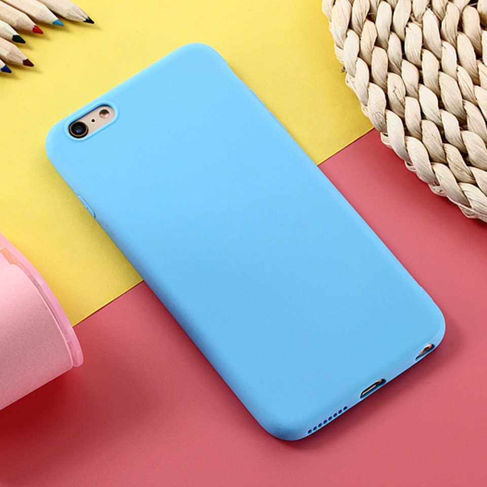 Матовый телефон случае для Apple iPhone 7 Plus 6 6s 8X5 5S SE XS чехол простой сплошной цвет Ультратонкий Мягкий полиуретановый чехол карамельный цвет задняя крышка