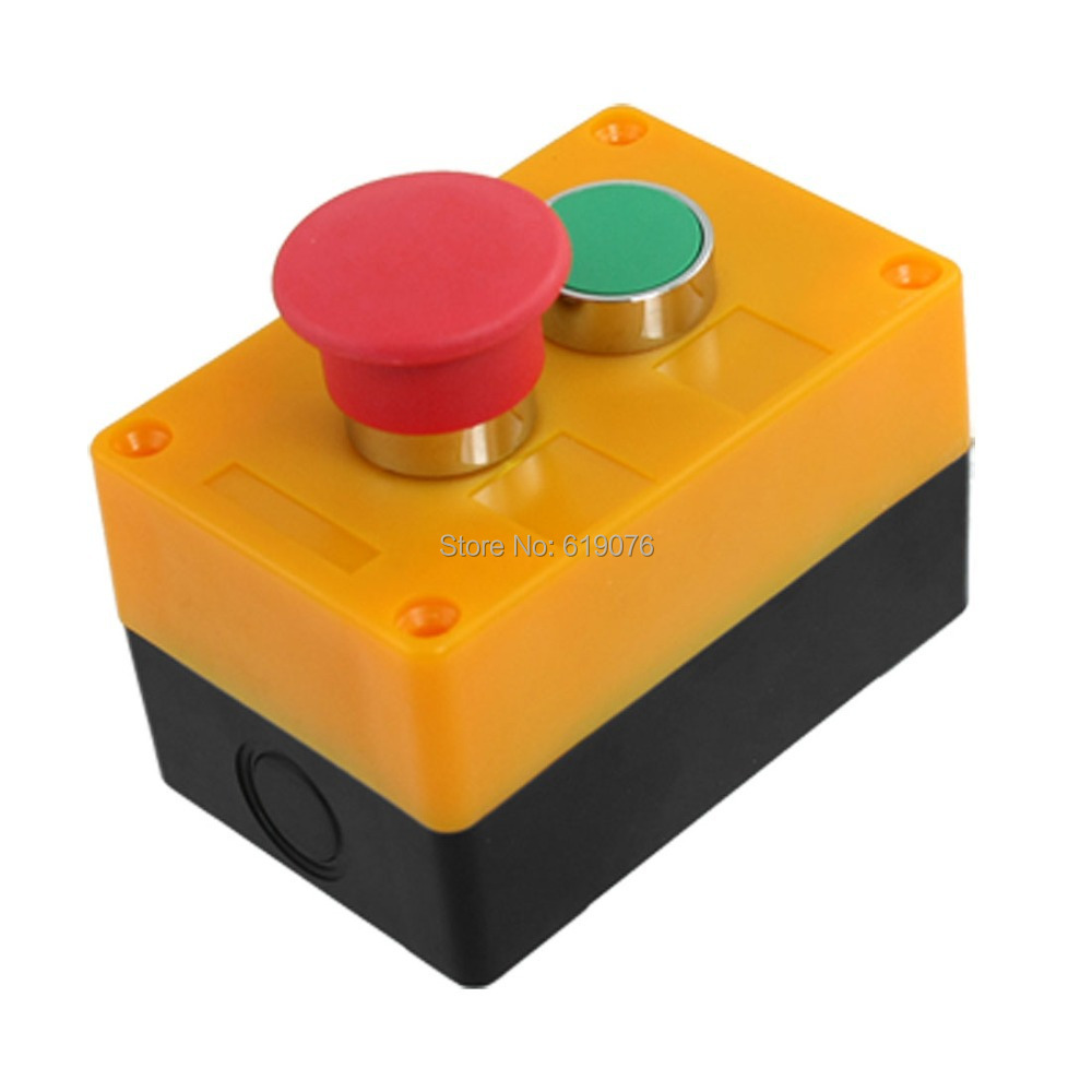 AC 240V 400V Red Mushroom Green Flat Momentary Push Button Switch Station green red yellow 3 flat push button momentary switch station