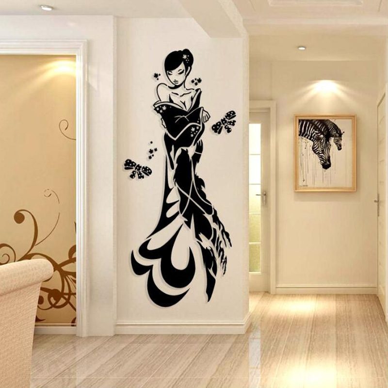 Chinese Style Goddess Design Acrylic Stickers Anime Character Wall