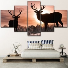 Canvas Pictures HD Prints Type Wall Art Home Decorative Living Room 5 Piece Forest Sunset Animal Deer Paintings Modern Artwork