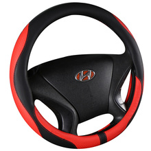 KKYSYELVA Car Interior Accessories Black Auto Sports Steering Wheel Cover Leather 38cm Vehicle Truch Steering Covers d type 38cm 15 universal leather sports auto car steering wheel cover for vw polo golf peugeot 508 408 and other sports cars