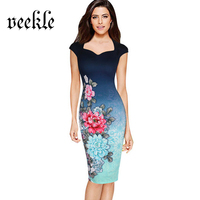 VEEKLE 2017 Summer Rose Floral Print Office Dress Sleeveless Navy Blue Gradient Stylish Wear To Work