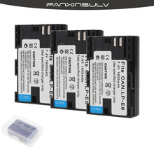 3 Pcs  LP-E6 LP E6 LP-E6N Battery Japan Sanyo Cell + case for Canon EOS 6D 7D 5DS 5DSR 5D Mark II 60D 60Da 70D 80D