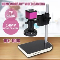 New 16MP 60 LED 10x 130x Digital Camera Microscope Lift Stand Video Zoom Lens Intense Focused Shadow free Illumination