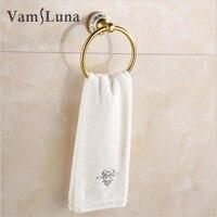 Golden Space Aluminum Bathroom Accessories Bathroom Round Towel Ring Holder Towel Rack with Ceramics