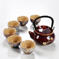High quality Exquisite agate Lifting beam pot Kung Fu Tea set Drinkware Chinese Porcelain tea set Include 6 tea cups 1 tea pot