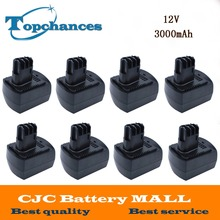 8PCS Newest Replacement Ni-Mh 12V 3000mAh Power Tool Batteries for METABO 6.25473 ULA9.6-18 BS 12 SP BSZ 12 Impuls Black