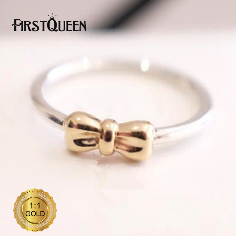 FirstQueen Brand Fashion Bow Ring, Clear CZ & Solid 14k Gold Rings For Woman Brand Fine Jewelry Factory Dropship