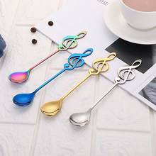 304 Stainless Steel Musical Notes Spoon Coffee Stirring Mug Music Bar Ice Cream Creative Gift Spoon kitchen(China)