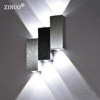 ZINUO אלומיניום 6 W LED מנורות קיר מנורות קיר חדר שינה מסדרון מסדרון מנורות מעבר לבית תאורת קישוט AC90-265V