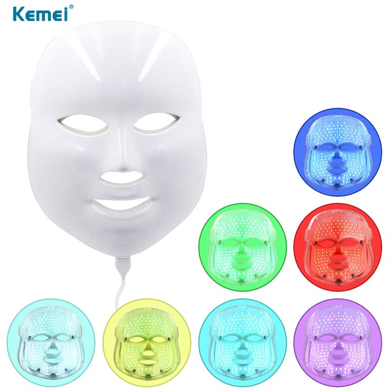 7 Colors Light LED Facial Mask Rejuvenation Face Care Rejuvenation Anti Acne Therapy Whitening Skin Tighten With Face Skin 1 set professional face care diy homemade fruit vegetable crystal collagen powder facial mask maker machine skin whitening