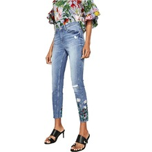 Vintage Floral Embroidery Blue Demin Jeans Pencil Pants Washed Zip Pocket New Casual Women Slim Ankle-Length Trousers L727