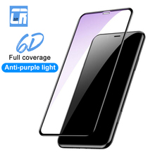 6D Full Cover Anti Blue Light Screen Protector Tempered Glass for iPhone X XS MAX XR 8 7 6 6s Plus Protective Film for iPhone 7