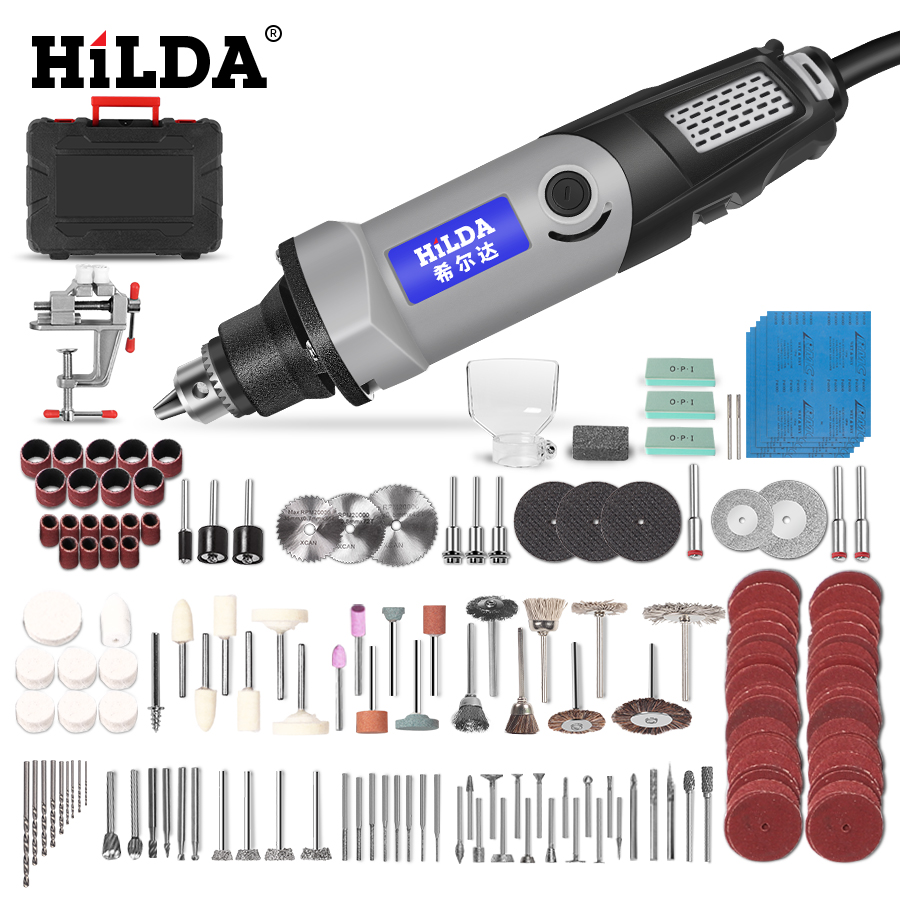 HILDA Electric Drill Mini Engraver Rotary Tool 400W Mini Drill 6 Position For Dremel Rotary Tools Mini Grinding Machine