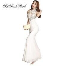 Длинное платье с круглым вырезом и кристаллами, вечернее элегантное длинное женское платье, вечерние платья, платье для выпускного вечера