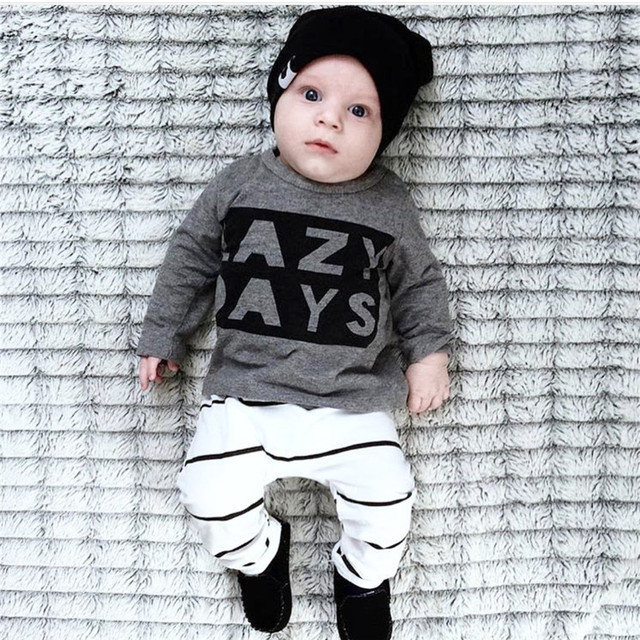 2018 Autumn Baby Boy Clothes Baby Clothing Set Fashion Cotton Long-sleeved Letter T-shirt+Pants Newborn Baby Girl Clothing Set 3