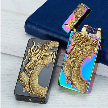 Newest usb charging electric double arc plasma lighter eletronic windproof dragon lighters for smoker cigarettes cigar gifts