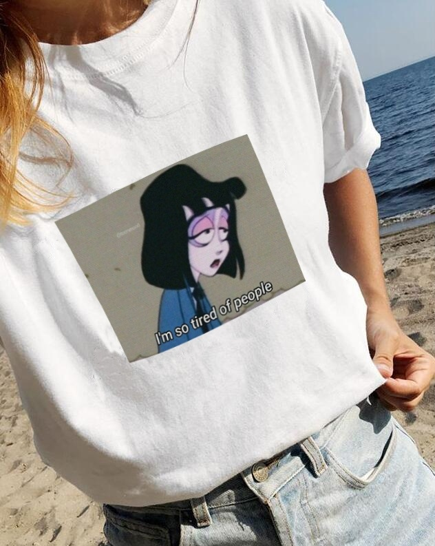 Kuakuayu HJN I'm So Tired Of People Aesthetic Grunge Animated Cartoon T-Shirt Hipsters Cute Meme Tee