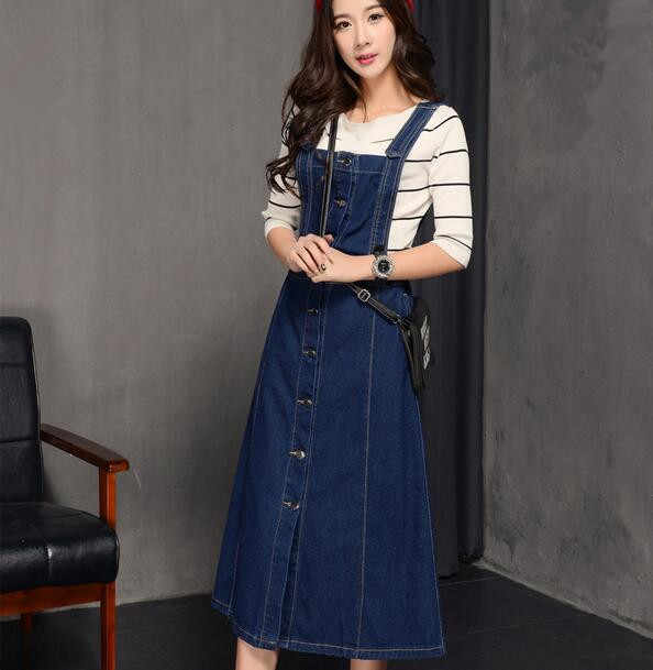Women Denim Dress Jeans Sundress Sleeveless Single Breasted Pockets Casual  Loose Long Suspender Dresses Plus Size b13b1a7a6fca