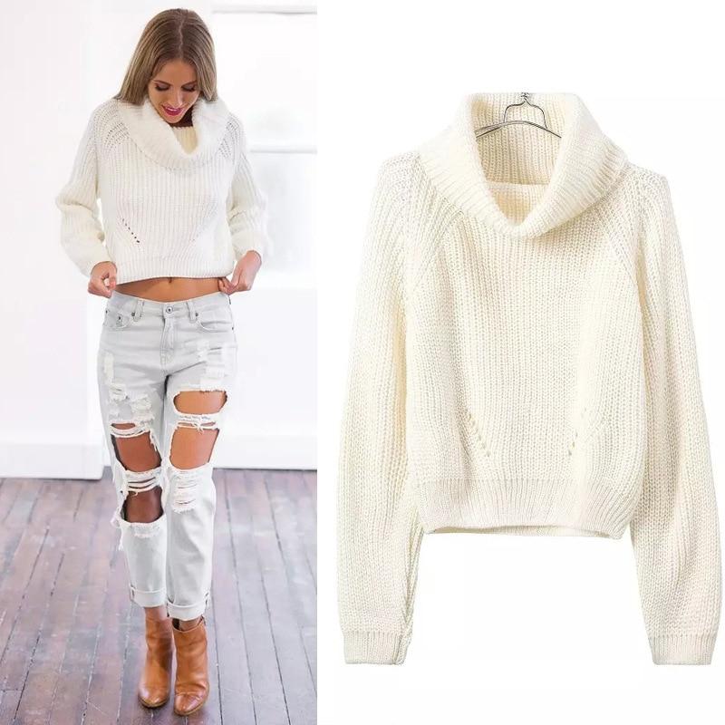 2015 moda otoño invierno cuello alto corto pullover
