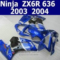 Bleu blanc Carénage kit Pour Kawasaki Ninja zx6r 03 04 2003 2004 Carénages (100% fit) k13
