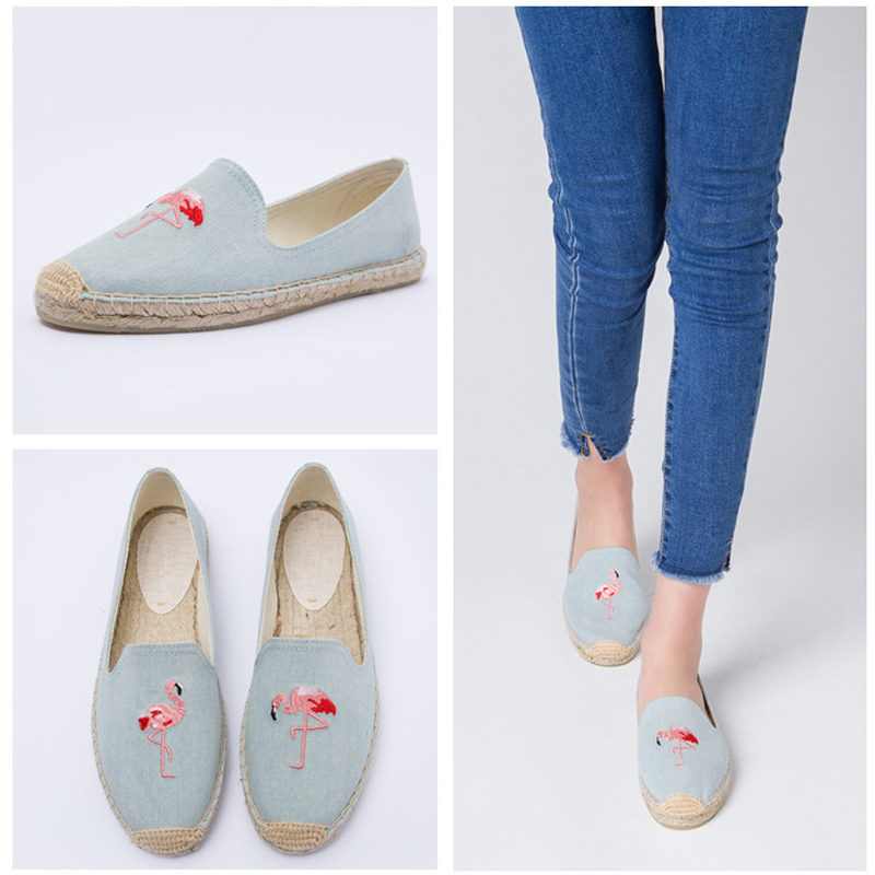 Image 2 - women's espadrille Embroider shoes Comfortable slippers Ladies Womens Casual Shoes Breathable Flax Hemp Canvas Blue Flamingo-in Women's Flats from Shoes