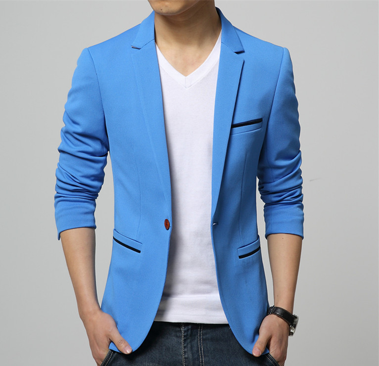 mens korean slim fit fashion cotton blazer suit jacket black blue. Black Bedroom Furniture Sets. Home Design Ideas