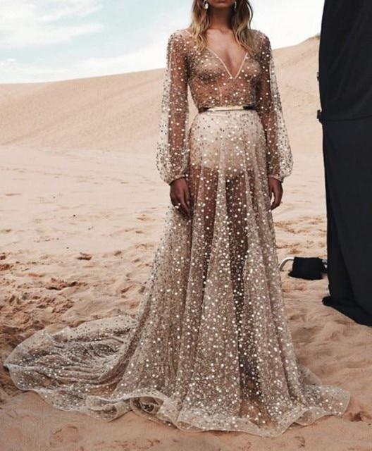 Long Champagne Wedding Dresses Beach