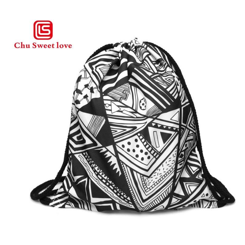 New Fashion Men Women Unisex  Drawsting Bag 3D Printing Geometric Patterns Multicolor Drawstring Backpack For Teenage
