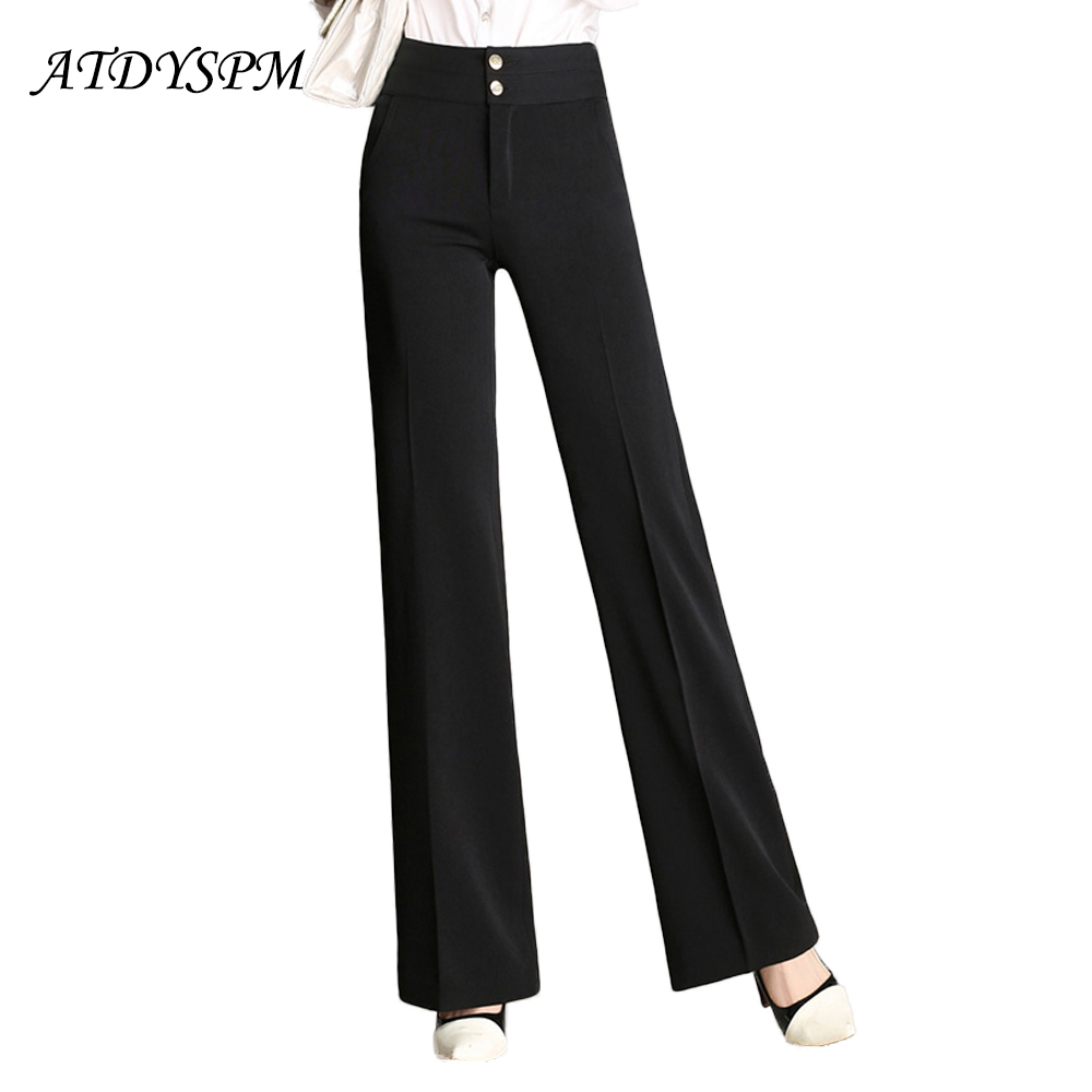 2019 New Women Elegant Loose   Pants   Solid Color High Waist Straight   Wide     Leg     Pants   Plus Size Office Lady Female OL   Pants   Trousers