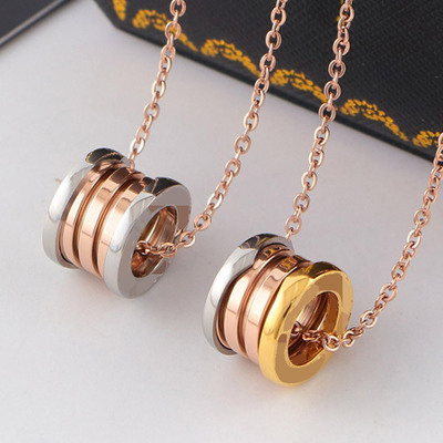 Exquisite 316L titanium stainless steel 3 mix colors necklace silve rose spring Necklace for women men bulgaria Never fade color