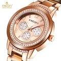 Kingsky marca Relojes de Las Mujeres de Alta Calidad de Oro Rosa Reloj de Cuarzo de Moda de Lujo Vestido de Las Mujeres Relojes Montre Femme Dropship