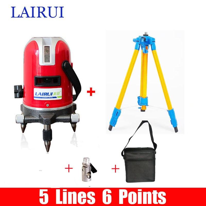 Lairui marque 5 lignes 6 points niveau laser 360 degrés rotatif croix laser ligne niveau 635nm avec le mode en plein air trépied disponible