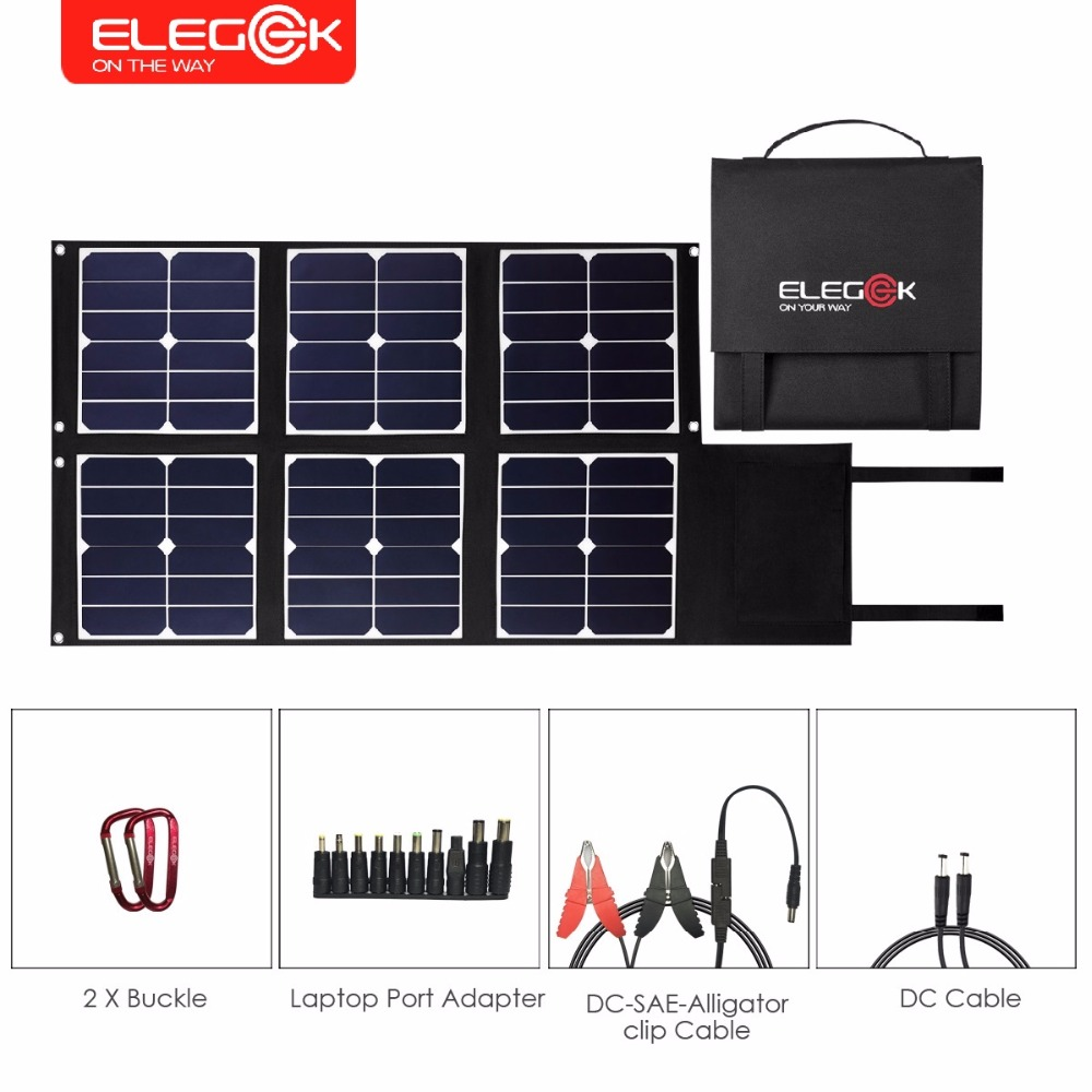 ELEGEEK 80W Foldable Solar Panel Charger SUNPOWER Portable Solar Panel with DC 18V USB 5V Output for Cellphone Laptop Power Bank free shipping 1pc lot 18w 18v foldable solar battery charger for laptop with usb voltage controller for mobilephone mp3 psp