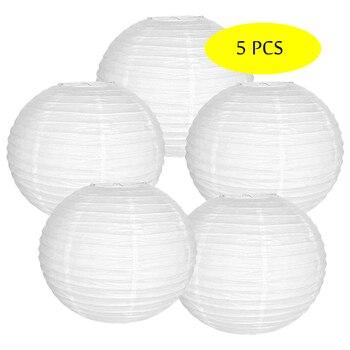 5 Pcs/set White Paper Lantern Round boule chinoise papier linternas Chinese lampion Wedding Party Hanging Christmas Decor Favor