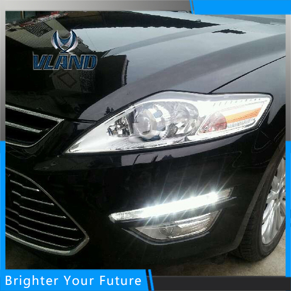 Car Accessories Waterproof Daytime Running Fog Light Lamp DRL Yellow Turn Signals for Ford Mondeo 2010-2012 1set car accessories daytime running lights with yellow turn signals auto led drl for volkswagen vw scirocco 2010 2012 2013 2014
