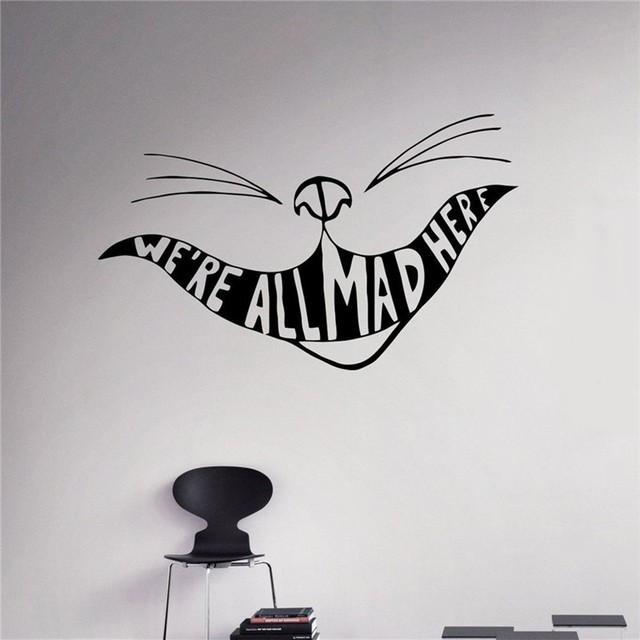 Weu0027re All Mad Here Vinyl Decal Alice In Wonderland Wall Sticker Cartoons  Home Interior Part 50