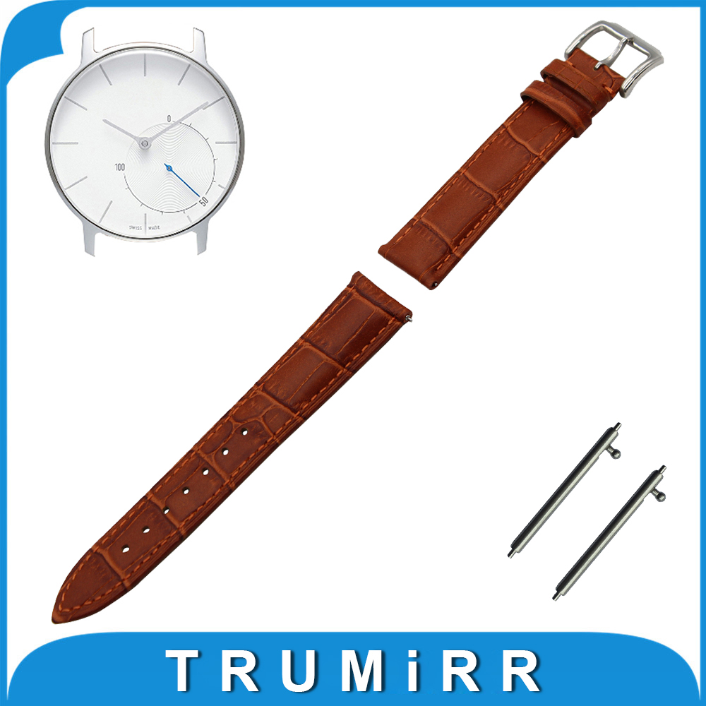 18mm First Layer Genuine Leather Watch Band Quick Release Strap for Withings Activite / Steel / Pop Link Wrist Belt Bracelet 18mm first layer genuine leather watch band for huawei watch fit honor s1 stainless steel buckle strap wrist belt bracelet